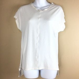 Lululemon White Striped Hi-Lo Sleeveless Tee SZ S